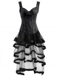 Vintage Push Up Corset Top with Ruffles Skirt - BLACK S