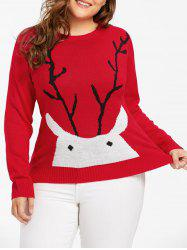 Christmas Elk Printed Plus Size Sweater - RED 5XL