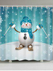 Skiing Snowman Printed Waterproof Shower Curtain -