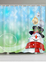 Snowman Printed Polyester Waterproof Shower Curtain - BLUE AND GREEN W59 INCH * L71 INCH