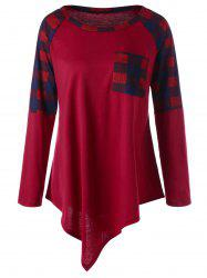 Plus Size Raglan Sleeve Plaid Asymmetrical Top - WINE RED XL