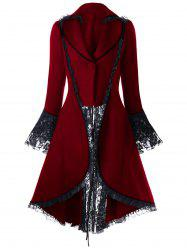 Lace Insert Lace-up High Low Coat - RED 2XL