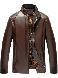 Stand col Zip Up Faux cuir veste -