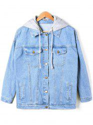 Faded Flap Pockets Hooded Denim Jacket - DENIM BLUE 2XL