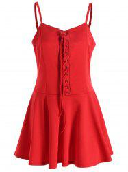 Christmas Lace-up Cami Dress - RED S
