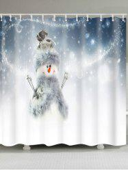 Polyester Waterproof Snowman Printed Shower Curtain -