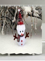 Christmas Snowfield Snowman Print Waterproof Bathroom Shower Curtain -