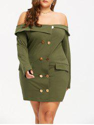 Off The Shoulder Double Breasted Plus Size Dress - ARMY GREEN XL