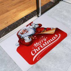 Santa Claus Coral Fleece Christmas Nonslip Bath Mat - RED AND WHITE W16 INCH * L24 INCH