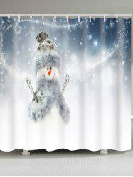 Polyester Waterproof Snowman Printed Shower Curtain - WHITE W59 INCH * L71 INCH