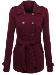 Belted Double Breasted Wool Blend Trench Coat - WINE RED XL
