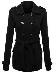 Belted Double Breasted Wool Blend Trench Coat - BLACK L