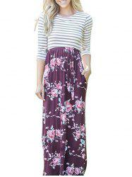Floral Striped Long Dress - FLORAL S