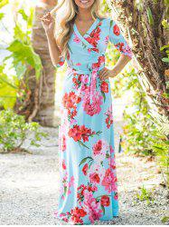 Floor Length Flower Print Dress - CLOUDY XL