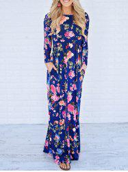 Floor Length Floral Long Sleeve Dress - BLUE L