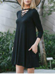 Criss Cross Keyhole Tunic Dress - BLACK XL