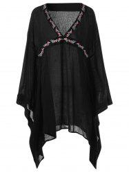 Embroidery Butterfly Sleeve V Neck Blouse - BLACK L