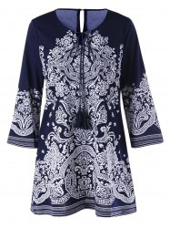 Bandana Floral Tie Front Tunic Blouse -