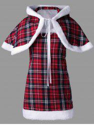 Plaid Hooded Capelet with Tube Top - RED L