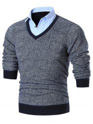 Fake Two Piece Knitted Shirt Collar Sweater - GRAY 3XL