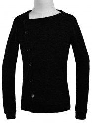 Oblique Button Up Knitted Cardigan - BLACK 2XL