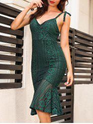 Backless Knee Length Cami Lace Bodycon Dress - BLACKISH GREEN S