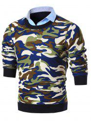 Shirt Collar Camo Print Knitted Sweater - BLUE 3XL