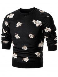 Rose Print Crew Neck Knitted Pullover Sweater - BLACK 2XL