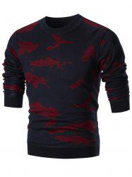 Camo Print Pullover Knit Sweater - RED 3XL