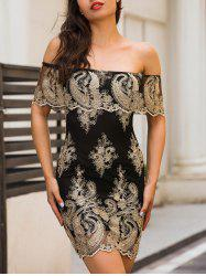 Off The Shoulder Embroidered Bodycon Dress - BLACK M