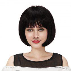 Neat Bang Straight Courte Bob Real perruque de cheveux humains -