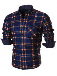 Color Block Checked Plaid Long Sleeve Shirt -