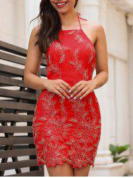 Embroidery Halter Neck Open Back Dress - RED M