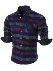 Turn-down Collar Color Block Checkered Shirt - RED 2XL