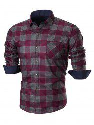 Chest Pocket Long Sleeve Checkered Shirt - WINE RED 4XL