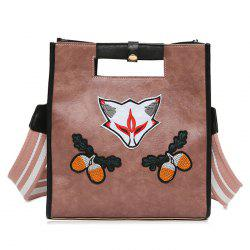 Fruit Fox Embroidery Tote Bag -