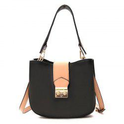 Contrasting Color PU Leather Tote Bag -