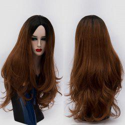 Long Center Parting Ombre Slightly Curly Synthetic Party Wig - BROWN