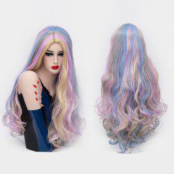 Long Middle Part Fluffy Colorful Curly Synthetic Party Wig -