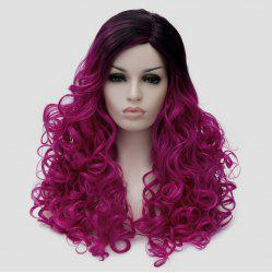 Side Parting Colormix Shaggy Long Curly Party Synthetic Wig - VIOLET ROSE