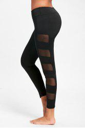 See Through Mesh Panel Yoga Leggings - BLACK S