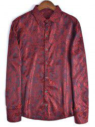 Long Sleeve Paisley Jacquard Shirt - RED 2XL