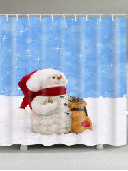 Waterproof Polyester Snowman Christmas Shower Curtain -