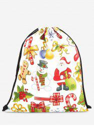 Drawstring Print Christmas Backpack - YELLOW