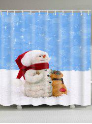 Waterproof Polyester Snowman Christmas Shower Curtain - BLUE AND WHITE W71 INCH * L71 INCH