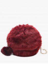 Pompom Chain Faux Fur Crossbody Bag - RED