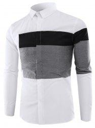 Color Block Panel Long Sleeve Shirt -