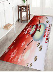 Snowman Merry Christmas Pattern Anti-skid Water Absorption Area Rug -