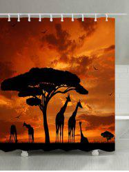 Sunset Prairies Giraffes Print Waterproof Bathroom Shower Curtain -