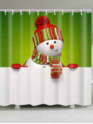 Waterproof Polyester Snowman Christmas Print Bath Curtain -